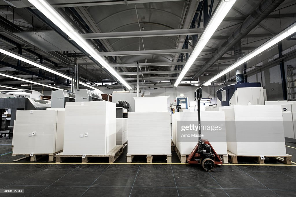 Pallets of paper in printing warehouse : Stock Photo