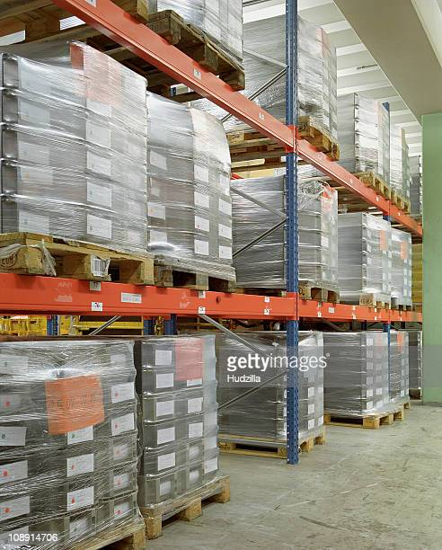 Pallets stacked in a warehouse