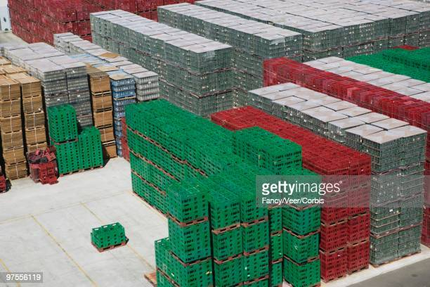 Pallets stacked on dock