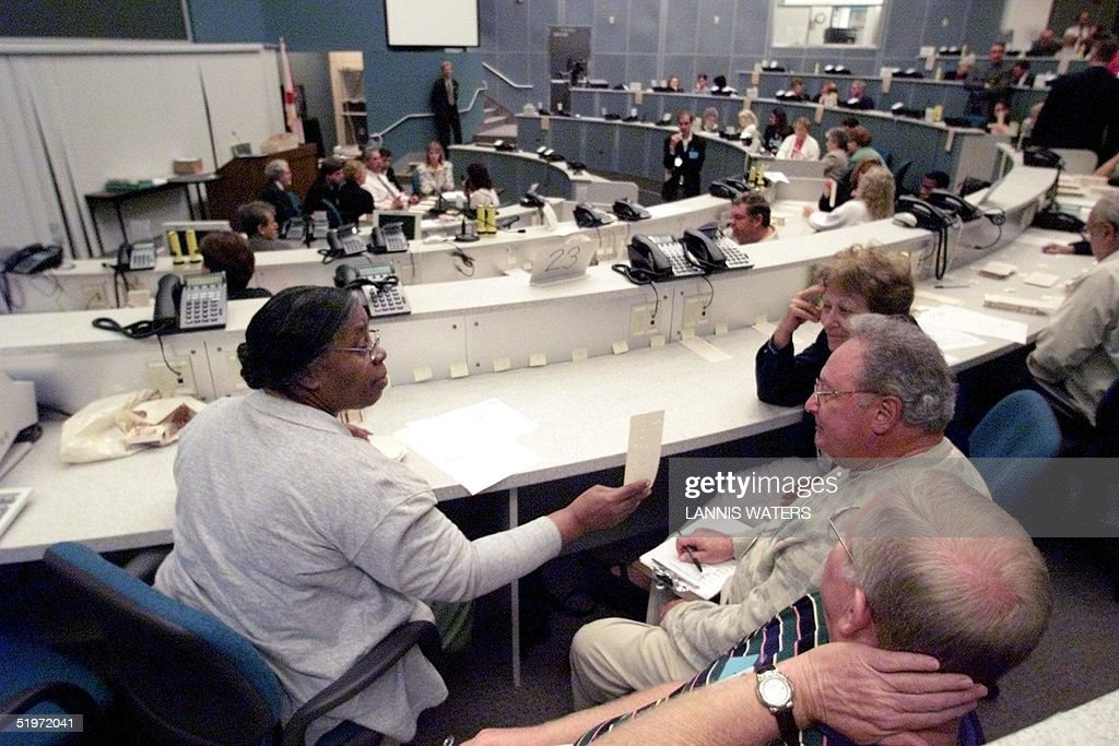 Palm Beach County Election Workers Take A Look At A Ballot At The Emergency Operations Center