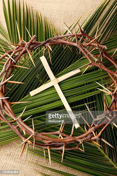 palm cross and branches with crown of thorns - palm sunday photos stock pictures, royalty-free photos & images