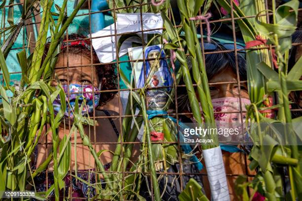 Palm fronds are seen attached to the gate of a village as Catholic devotees quarantined inside wait to be blessed by a priest as part of Palm Sunday...