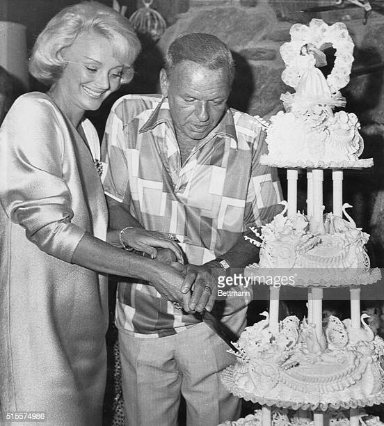 Frank Sinatra and bride the former Barbara Marx who were wed July 11 at the home of Walter Annenberg former US Ambassador to the Court of St James...