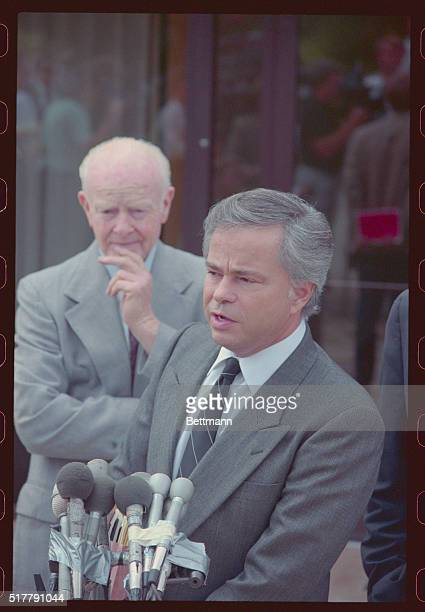 Jim and Tammy Bakker talk to reporters outside their Palm Springs mansion It was the first public statement for Jim Bakker since he resigned from the...