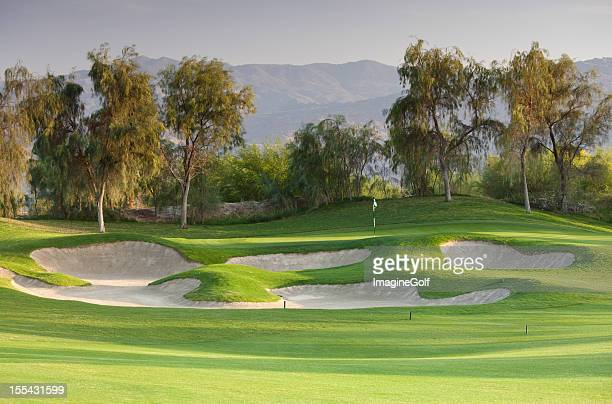 palm springs golf course - sand trap stock pictures, royalty-free photos & images