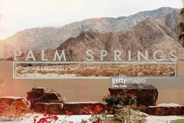 palm springs sign on wall, palm springs, california, usa - palm springs stock-fotos und bilder