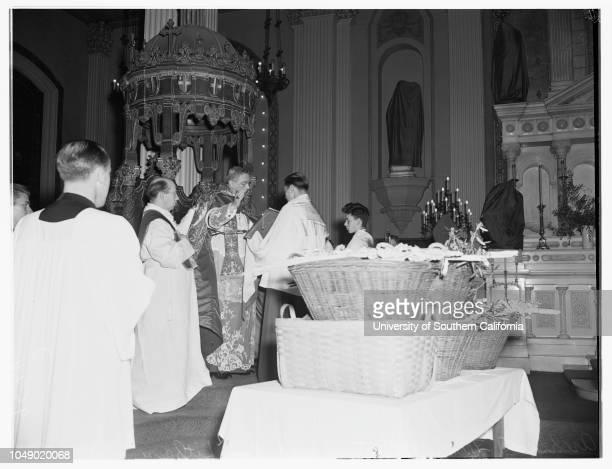 Palm Sunday at Saint Vibiana's Cathedral, 6 April 1952. Archibishop J Francis A McIntyre.Los Angeles, California.
