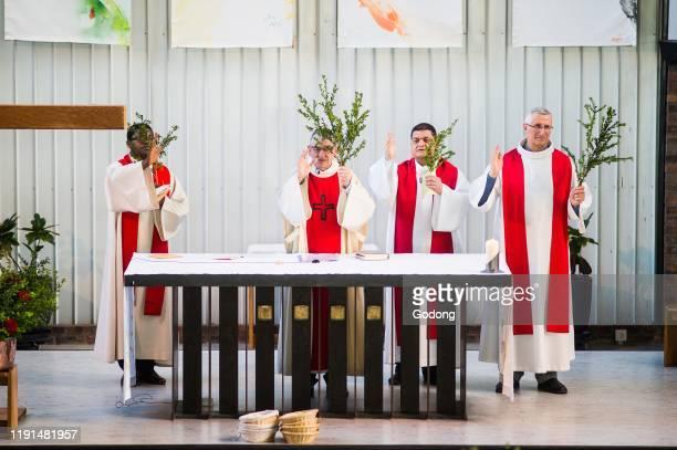 Palm sunday celebration in a catholic church Paris France