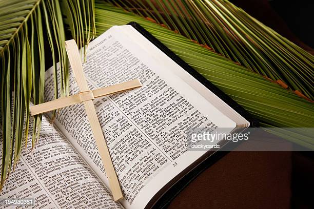 palm sunday cross and bible with branches - palm sunday stock pictures, royalty-free photos & images