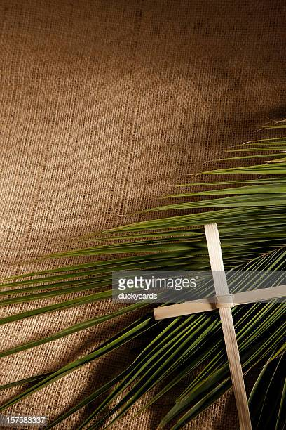 palm sunday cross and branch background - palm sunday photos stock pictures, royalty-free photos & images