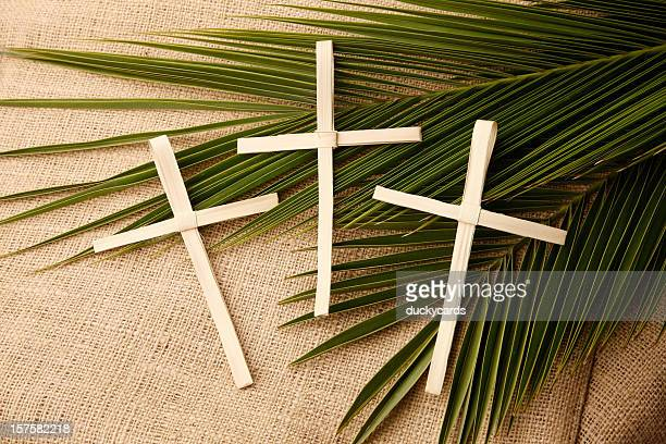 palm sunday crosses and branches - palm sunday stock pictures, royalty-free photos & images