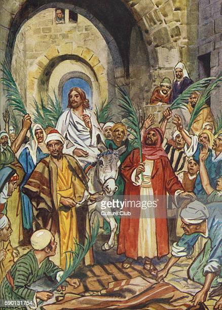 Palm Sunday Jesus' triumphal entry into Jerusalem on a young donkey People waving palm fronds to greet him 'And Jesus when he had found a young ass...