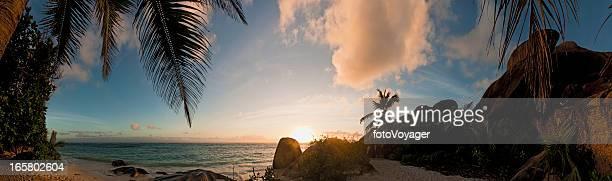 パームトリービーチの夕日のパノラマに広がる熱帯の島、海