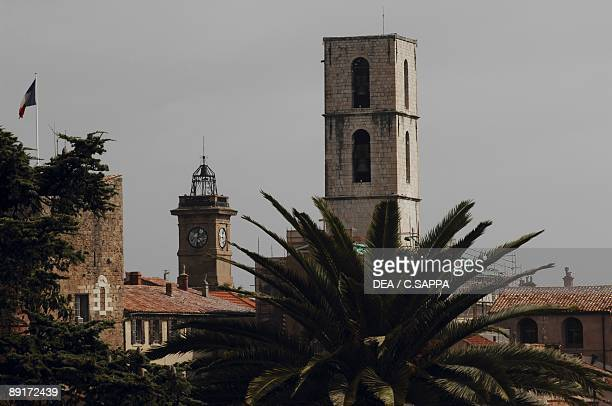 Palm tree in front of a bell tower, Grasse, Provence-Alpes-Cote D'azur, France