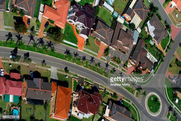 Palm Tree Lined Road, Green Valley, Western Sydney, Aerial Photography