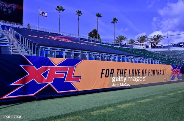 Palm trees are seen behind an XFL banner before the XFL game between the Los Angeles Wildcats and the Tampa Bay Vipers at Dignity Health Sports Park...