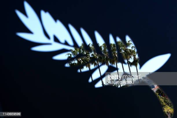 Palm trees are seen seeping through a palm similar to the Palme d'Or on May 14 on the opening day of the 72nd Cannes Film Festival in Cannes...