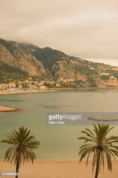 palm trees on the beach and the mediterranean sea in menton - french riviera stock pictures, royalty-free photos & images