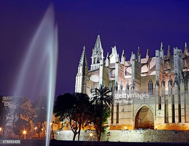 Palma cathedral and fountain illuminated at night