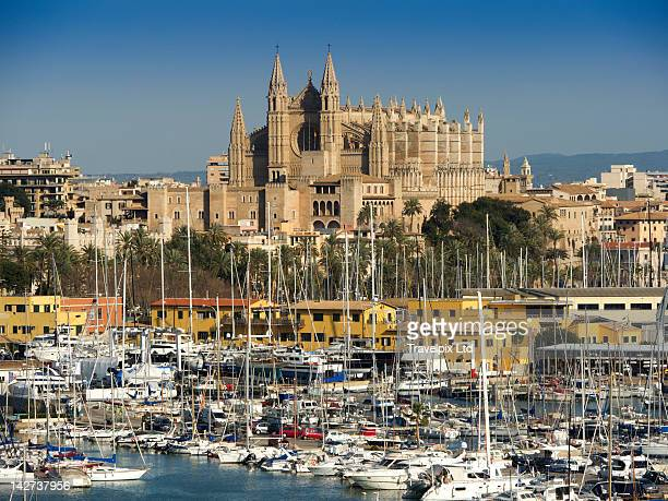 Palma Cathedral viewed over marina, Palma
