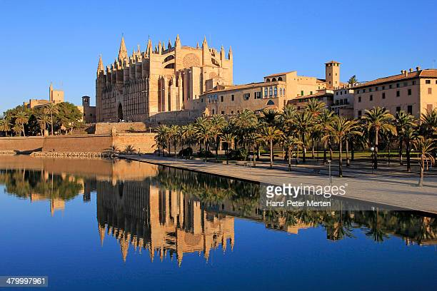 palma de mallorca, cathedral la seu, parc de mar - palma majorca stock photos and pictures