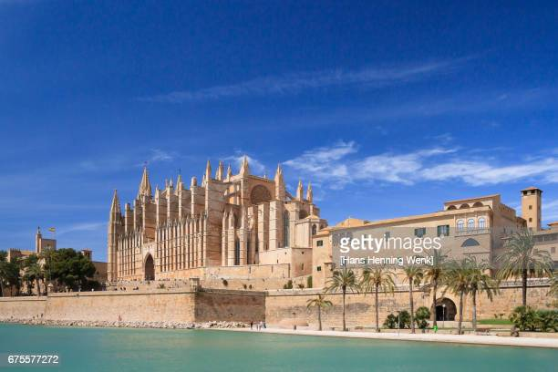 palma de mallorca cathedral - majorca stock pictures, royalty-free photos & images