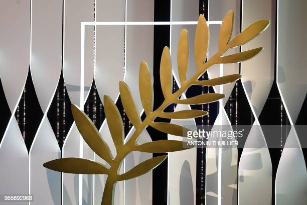 A Palme d'Or is seen on stage on May 8 2018 during a rehearsal ahead of the opening ceremony of the 71st edition of the Cannes Film Festival in...