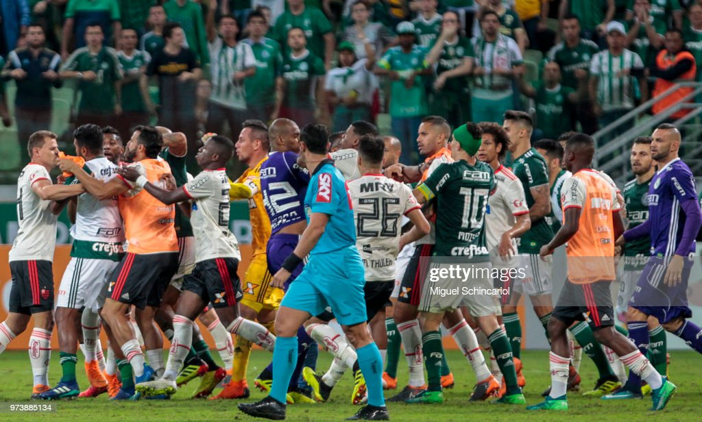 Palmeiras and Flamengo team players fight during a match for the Brasileirao Series A 2018 at Allianz Parque Stadium on June 13, 2018 in Sao Paulo, Brazil.