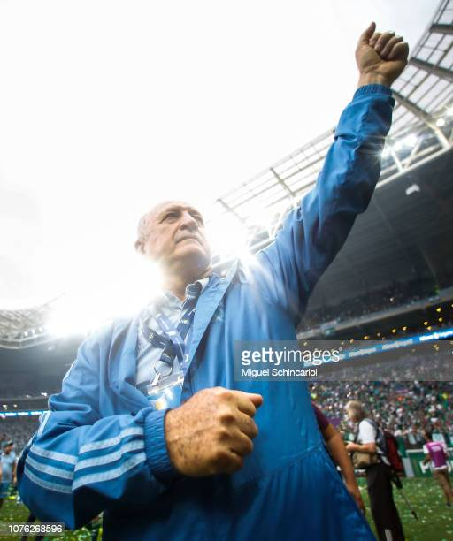 Palmeiras team coach celebrates after winning the Brasileirao 2018 after the match against Vitora at Allianz Parque on December 02 2018 in Sao Paulo...