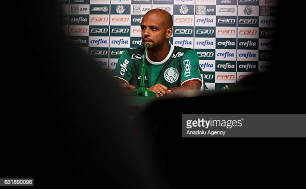Palmeiras's new Brazilian player Felipe Melo delivers a speech during his official presentation in Sao Paulo Brazil on January 17 2017