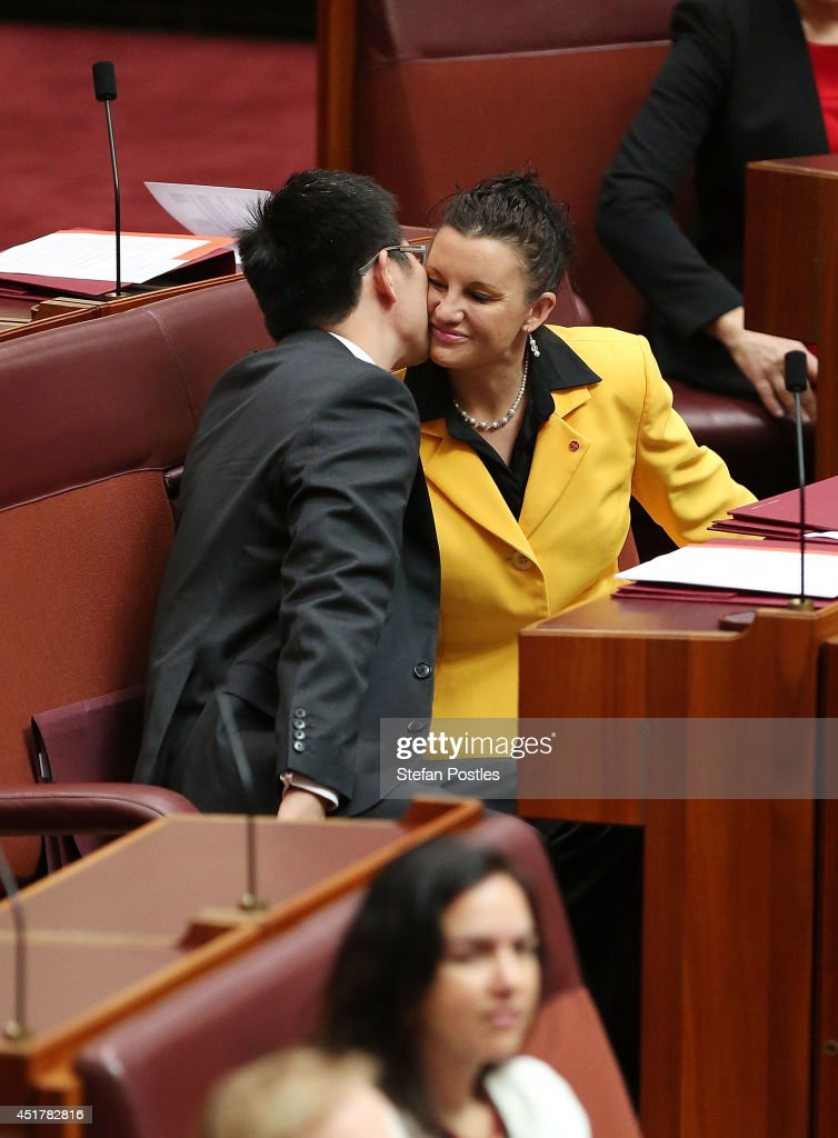 Palmer United Party Senators Jacqui Lambie and Zhenya Wang during an official ceremony on July 7, 2014 in Canberra, Australia. Twelve Senators will be sworn in today, with the repeal of the carbon tax expected to be first on the agenda.
