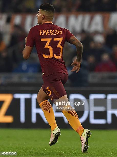 Palmieri dos Santos Emerson of AS Roma in action during the Serie A match between AS Roma and AC Milan at Stadio Olimpico on December 12 2016 in Rome...