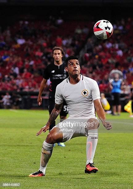 Palmieri Emerson of AS Roma handles the ball against Liverpool FC during a friendly match at Busch Stadium on August 1 2016 in St Louis Missouri AC...