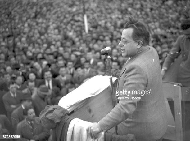 Palmiro Togliatti leader of the Italian Communist Party talks during a political meeting for the election on 18th of April 1948