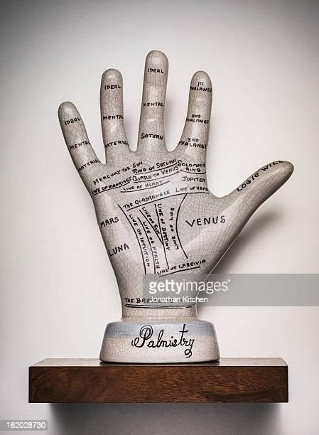 Palmistry hand on a shelf