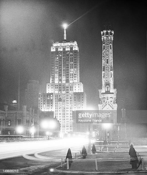 Palmolive Building with Lindberg Beacon Atop and an the Water Tower in Chicago Thirties