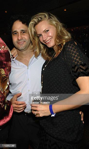 Palms Casino owner George Maloof and actress Natasha Henstridge attend dinner at NOVE Italiano at The Palms Casino Resort on November 10 2007 in Las...