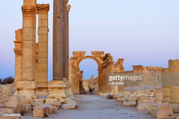 palmyra, monumental arch and great colonnade - oude ruïne stockfoto's en -beelden