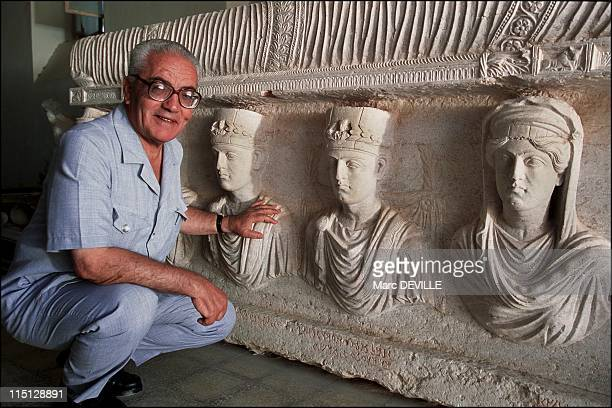 Palmyra's Last Treasures in Syria in September 2002 Khaled alAsaad the Director of Antiquities and Museum in Palmyra in front of a rare sarcophagus...