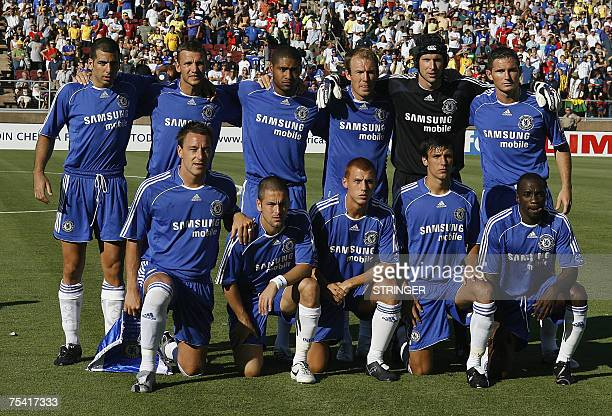 Chelsea's players pose for a photo before the game against Club America in the Disney Friendship Cup football match at Stanford Stadium in Palo Alto...