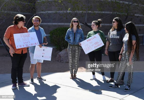 Palo Verde High School students Jake Grosvenor Eli Duncan Ainslee Archibald Mallory McKissick Raven Green and Sonia Agrebi stand outside the school...
