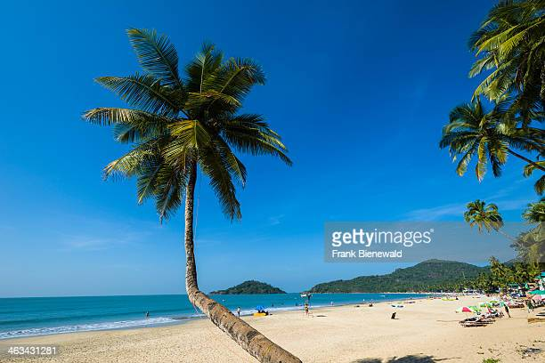 Palolem Beach with blue sky palm trees white sand and blue sea is one of the famous beaches in the former Portuguese colony Goa