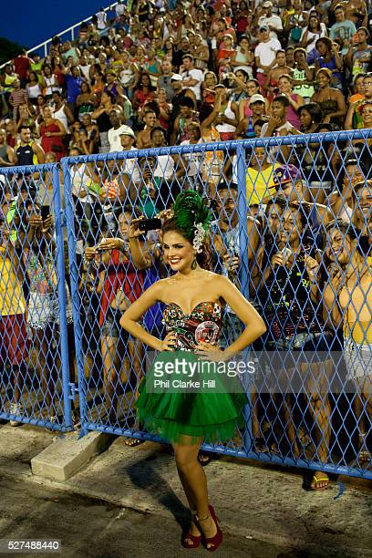 Paloma Bernardi posing for photos and talking to the fans before their final practice performance Grande Rio Samba School from the Special Group...