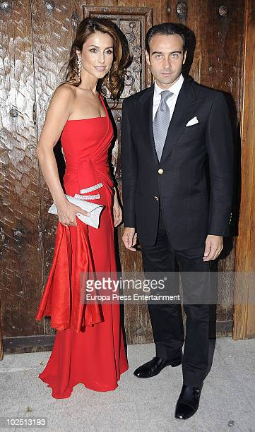Paloma Cuevas and Enrique Ponce attend the christening of Paloma Segrelles and Emilio Alvarez's daughters, Paloma and Tiziana, on June 28, 2010 in...