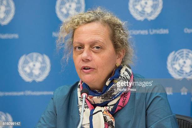 Paloma Durán speaks at to the press In conjunction with the 2016 Pritzker Architecture Prize ceremony at United Nations Headquarters the 2016...
