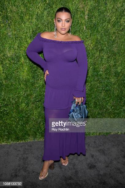 Paloma Elsesser attends the CFDA / Vogue Fashion Fund 15th Anniversary Event at Brooklyn Navy Yard on November 5 2018 in Brooklyn New York