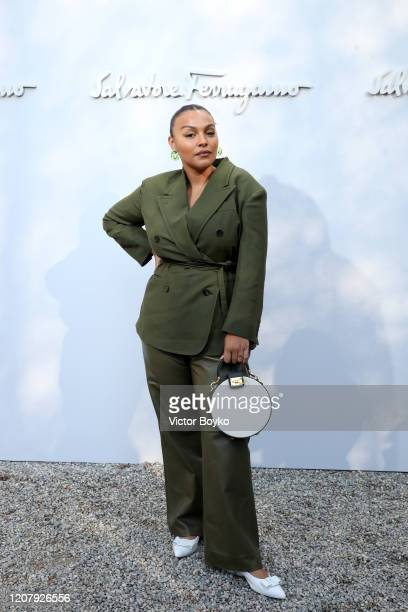 Paloma Elsesser attends the Salvatore Ferragamo show during during Milan Fashion Week Fall/Winter 2020/2021 on February 22, 2020 in Milan, Italy.