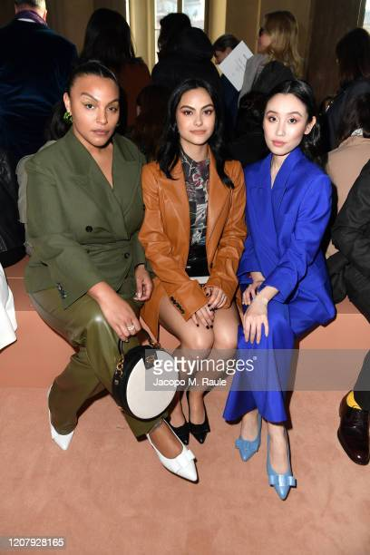 Paloma Elsesser Camila Mendes and Olivia Sui attend the Salvatore Ferragamo show during during Milan Fashion Week Fall/Winter 2020/2021 on February...