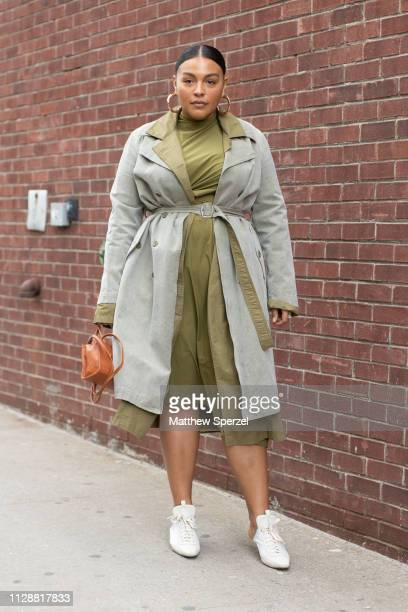 Paloma Elsesser is seen on the street during New York Fashion Week AW19 wearing Sies Marjan on February 10, 2019 in New York City.