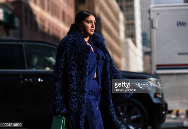 Paloma Elsesser is seen wearing a blue Sies Marjan outfit outside the Sies Marjan show during New York Fashion Week: A/W20 on February 09, 2020 in...